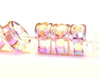 10 pcs 5mm QUALITY crystal AB rondells 5mm