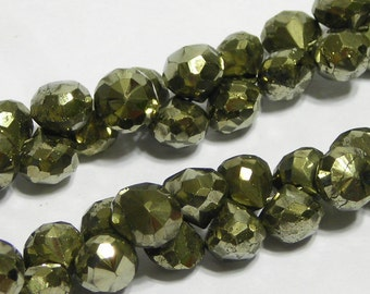 Pyrite faceted candy kiss gemstone onions 6 pieces