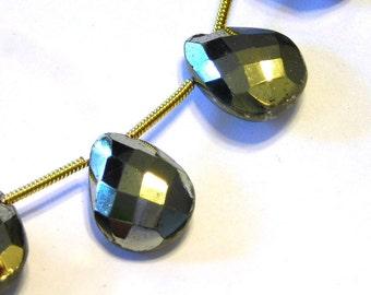 Pyrite faceted LARGE pear briolettes 1 pair