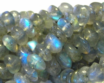 "Labradorite smooth button rondells whole 14"" strand good flash"