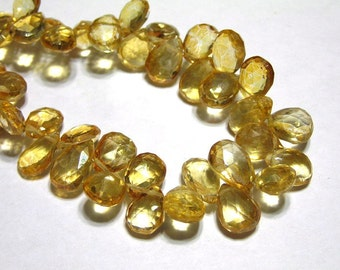 Mystic Quartz apricot faceted pear briolettes 6 pieces
