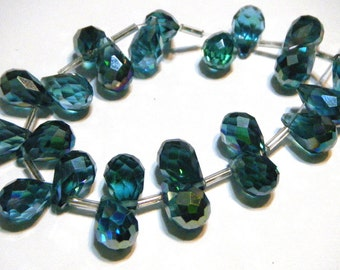 London Blue Faceted Crystal drop briolettes top drilled 12mm
