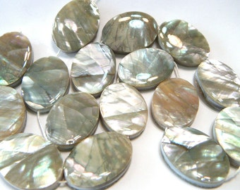White Abalone shell Large double sided beads whole strand