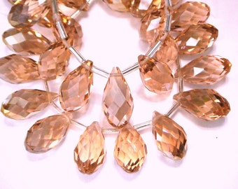Cherry blossom Pink Faceted Crystal drop briolettes top drilled 17mm