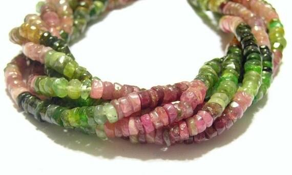 Watermelon Tourmaline heishi gemstone beads1 full strand