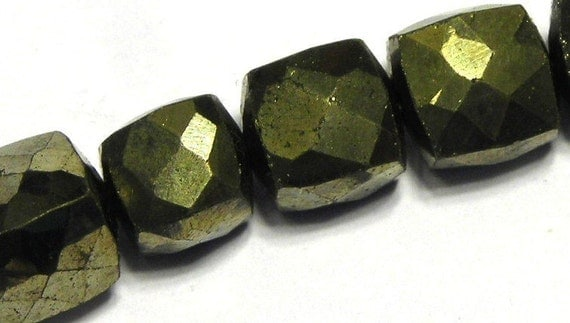 Pyrite faceted cubes 4 beads