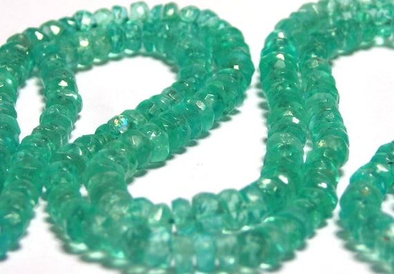 light teal Apatite faceted gemstone rondells full strand bargain