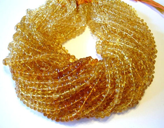 """LAST ONE Citrine shaded rondell beads full 14"""" stand."""