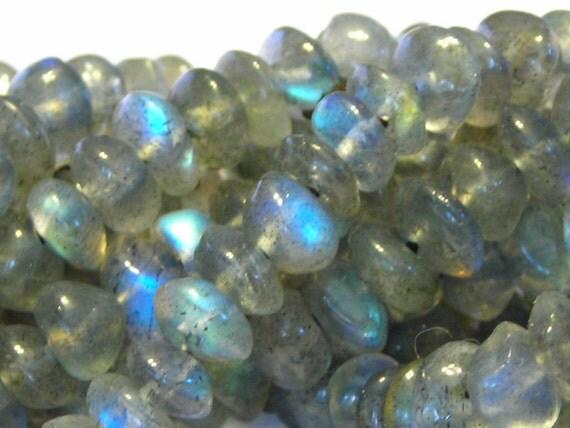 "Labradorite smooth button rondells whole 14"" strand good flash"