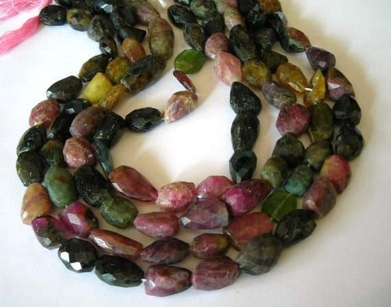 BIG Watermelon Tourmaline gemstone faceted large nuggets full strand
