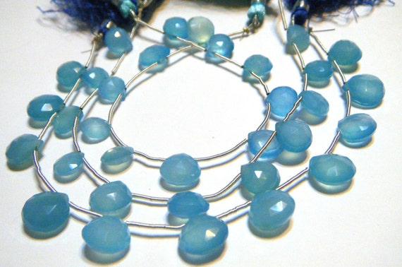 Sky blue faceted heart chalcedony briolettes