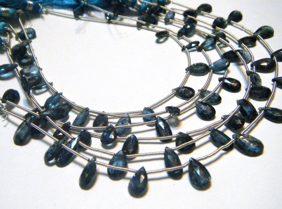 Kyanite faceted pear briolettes whole strand