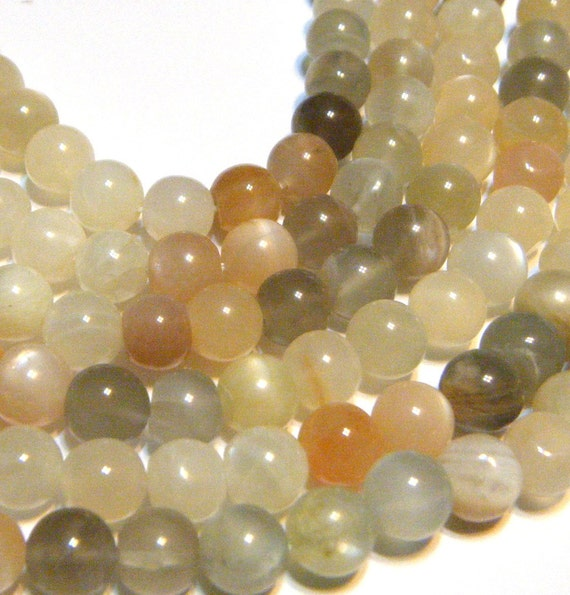 Multi colored moonstone 6mm round beads full 14in strand