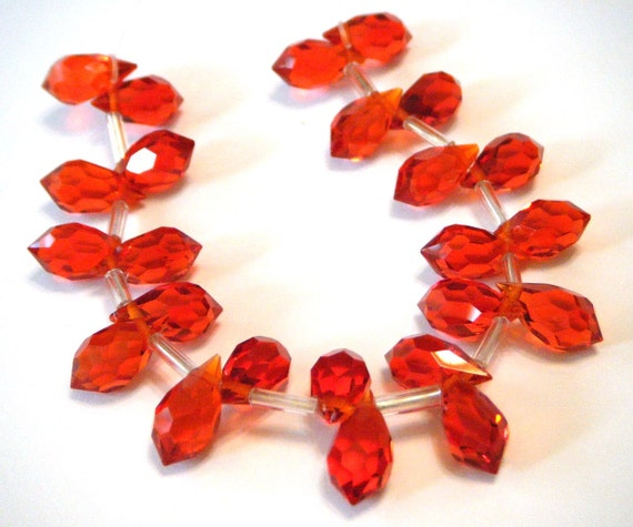 Fire opal orange color Faceted Crystal drop briolettes top drilled 11mm