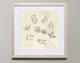 Pasta Series 1 by Iveta Abolina -  Illustration Print