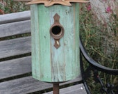 Birdhouse - Fancy Green and Yellow with reclaimed Iron Star