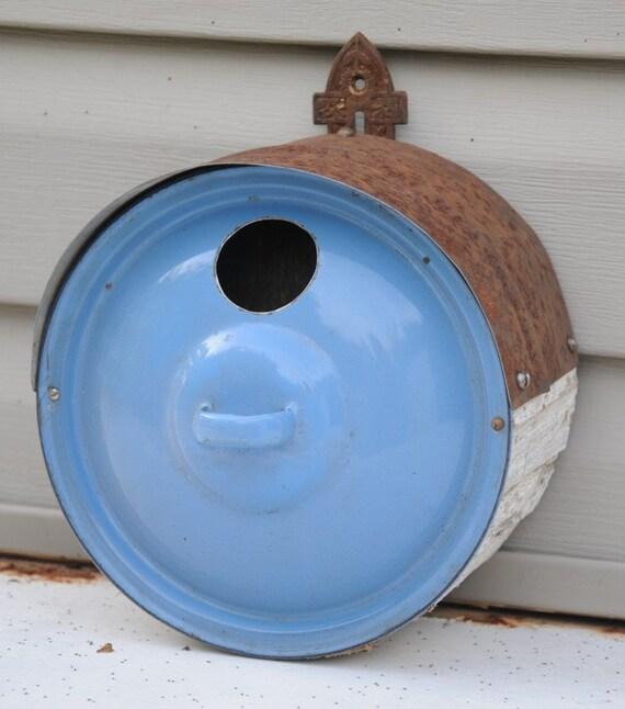 Birdhouse - Round Blue Graniteware Pot Lid  2