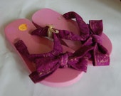 Purple and Gold styled Batik Flip Flops girls size small Sale