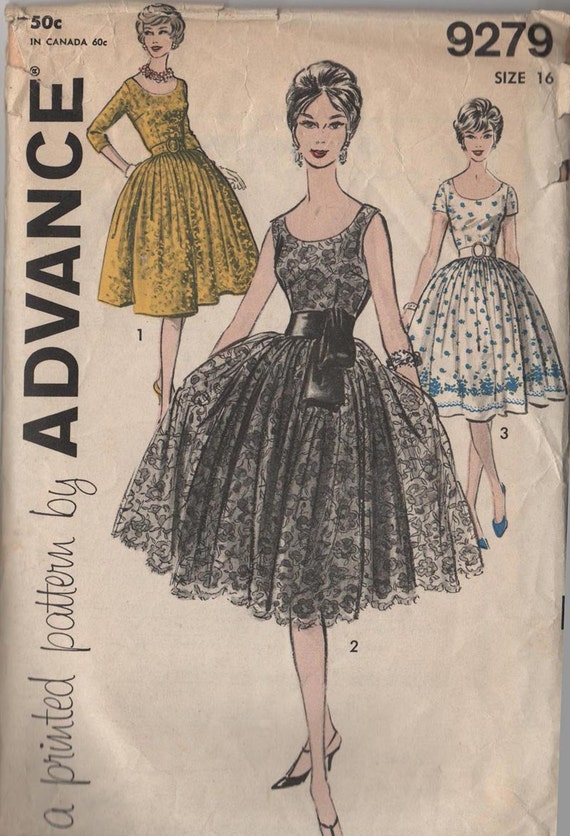 Vintage Advance 9279 Tea Party Cocktail Dress Pattern Copy SALE