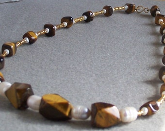 Golden Tiger Eye and Freshwater Pearls