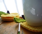 Crochet Apple Coasters - yellow set of 4