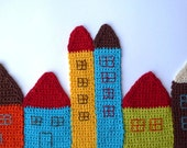 Crochet Coasters - Little Houses Coasters  Bookmarks Wall Fabric  Art