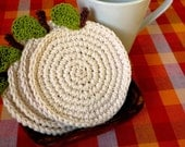 Crochet Apple Coasters, Fruit Coasters, Crocheted Coasters, set of 4