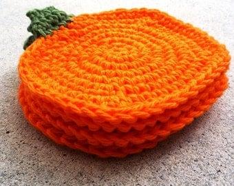 Pumpkin Farmhouse Decor - Pumpkin Coasters - Crochet Coasters - Set of 4 - Thanksgiving Table Decor - Orange Pumpkin - Autumn Kitchen Decor