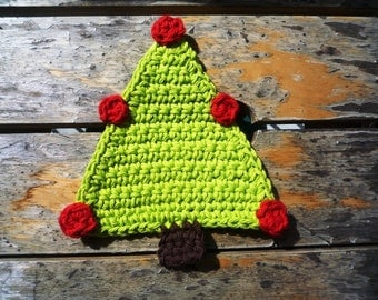 Christmas Tree Coasters - Crochet Tree Coasters - Hostess gift - Gift under 20 - Gift for Her - Gift for Mom - Set of 2 - Christmas Decor