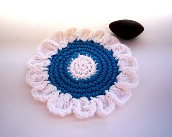 Blue Flower Coasters (2 pc)