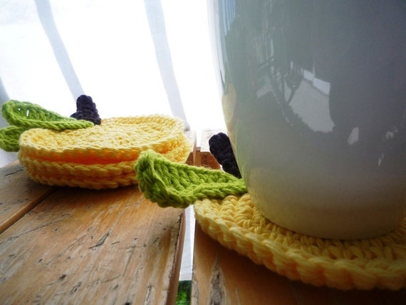 Crochet Apple Coasters - yellow set of 4