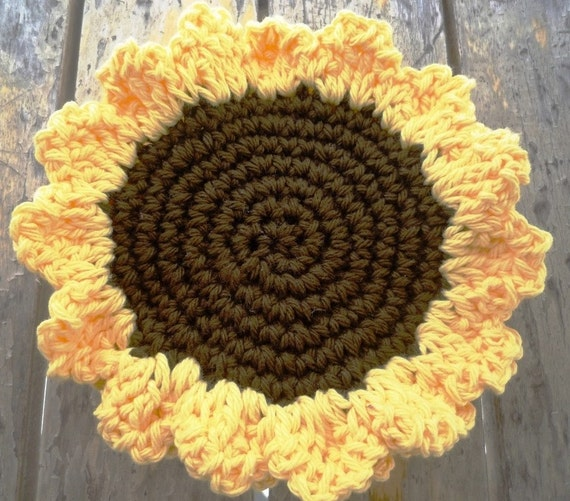 Crochet Yellow Sunflower Coasters, Flower Coasters (4 pc)