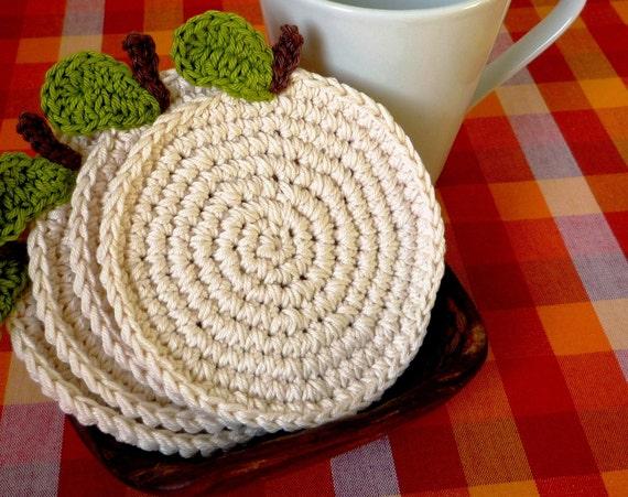 Apple Coasters - Fruit Coasters - Crochet Coasters - Housewarming Gift - Gift for Teacher - Rustic Home Decor - Kitchen Decor - set of 4