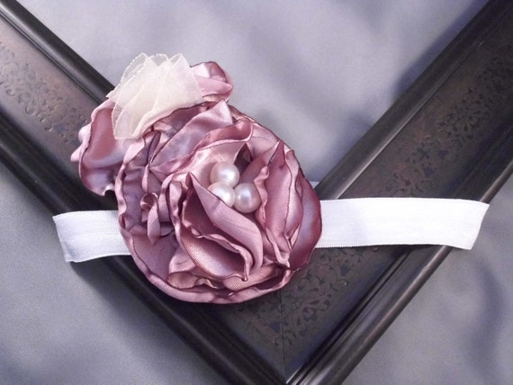 Vintage Flapper Hair Clip Rose and Cream with Pearls-photo prop, newborn, blessing, wedding, photography