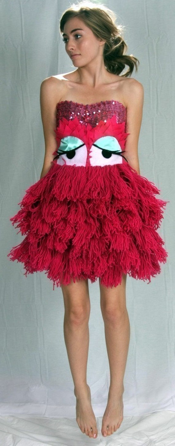 Hot Pink yarn monster DRESS