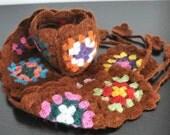 COFFEE SQUARE - Crochet Multicolor Squares Scarf
