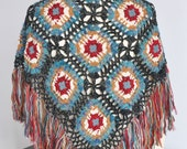 Crochet Afghan Triangle Scarf/Shawl/Wrap with Multicolor Fringes