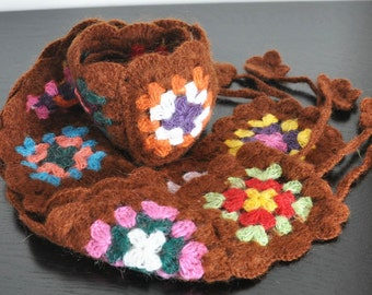 NY SALE - Coffee Square - Crochet Multicolor Squares Scarf