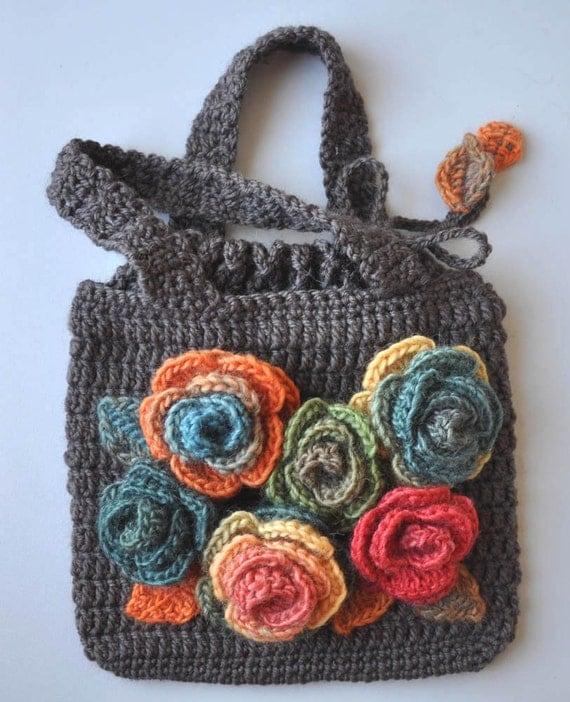 ROSE ROSES - Crochet Rose Appliques Bag/Purse