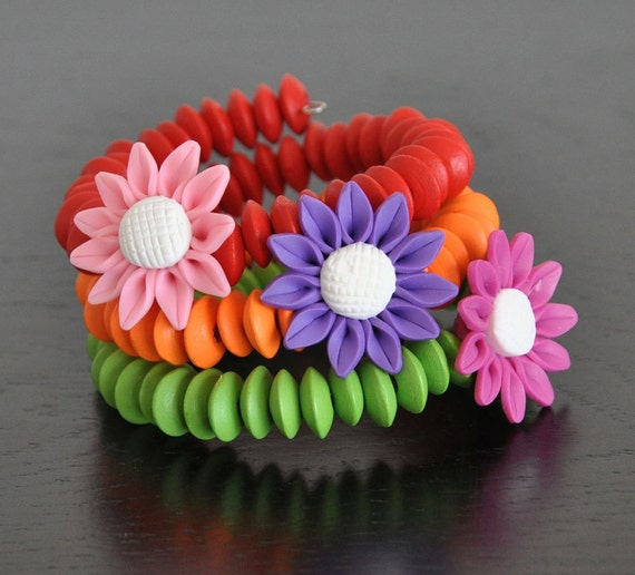 SUMMER FLOWER - Polymer Clay Flowers and Wood Beads Bracelet