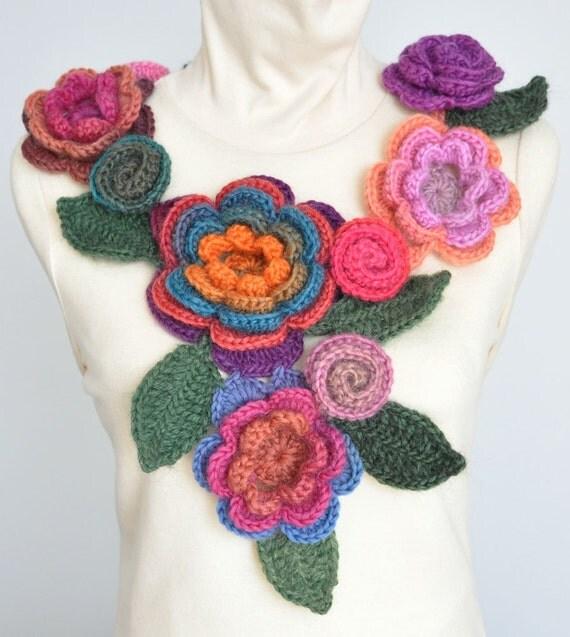FLORAL  2011- SHORT - Crochet Multicolor 3D Flowers Scarf /Necktie