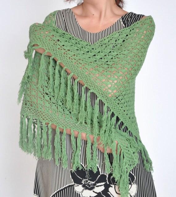 RESERVED - CLASSIC COTTON - Green - Crochet Cotton Yarn Triangle Shawl