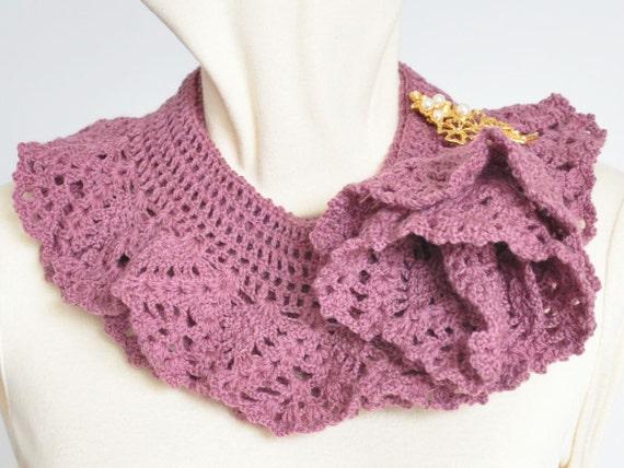 Crochet Wool Yarn Spiral Ruffle Scarf