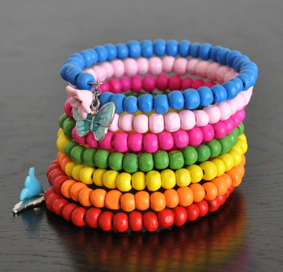 RAINBOW CUFF - Multicolor Wood Beads Cuff Bracelet with Butterfly and Flower Charms