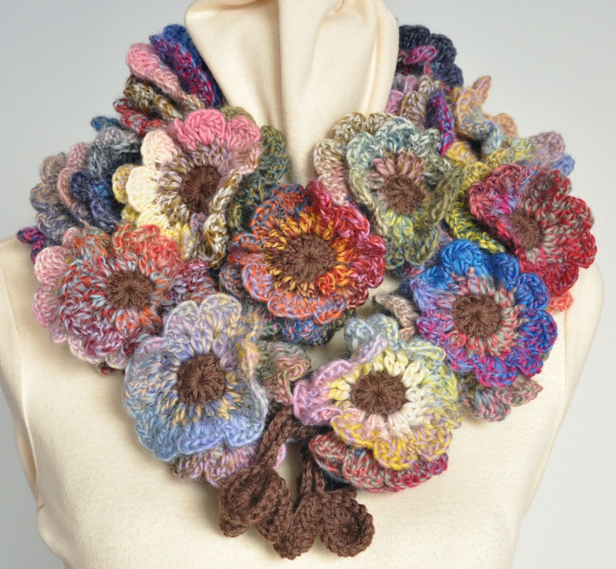Floral Fall Crochet Multicolor flower Scarf by jennysunny on Etsy Crochet Flower Scarves