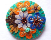 FB066 -  Japanese Art Inspired Handmade Mini Felt Brooch - Petrol Blue - Made to order