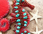 FB091  Beside The Seaside Theme -  Sea Horse Handmade Felt Brooch - Red