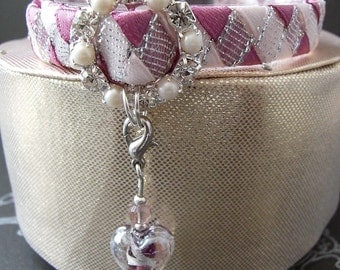 Pink Cat Collar with Silver contrast