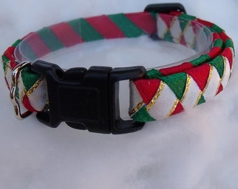 Christmas breakaway cat collar Red and Green