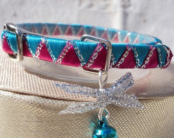 Tiny kitten collar Hot Pink  and Blue